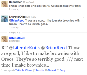 I still freak out whenever a writer I really like @replies at me. Brian was the very first one do do it, way back in 2008